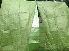Vintage Nos Vinyl Back Sheer Green Curtains Starburst