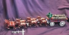 Vintage Cast Iron Horses Beer Barrel Wagon Dog Drivers Clydesdales LARGE Z2