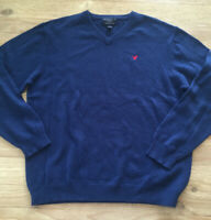 American Eagle AE Mens V-neck Wool Blend Sweater Navy Blue - Size XL