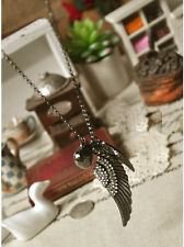 Charm Rhinestone Angel Wings & Love Heart Pendant Retro Gun Black Metal Necklace