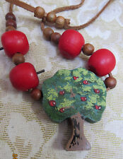 NECKLACE WOODEN BEADS & PAINTED APPLE TREE CHARMS