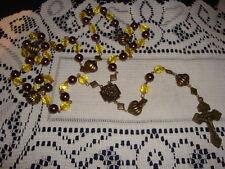 ROSARY CATHOLIC HANDMADE LARGE YELLOW SUN AND BRONZE TONE BOHEMIAN INSPIRATION