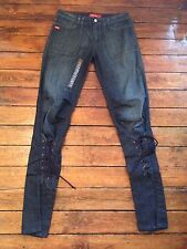 Miss Sixty Lace Front Jeans Blue Womens Sz 12 W30 Fit L34 Tall Sz 28 Rrp £80 ^8