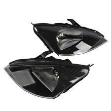 Headlights Left&Right for 2000 2001 2002 2003 2004 Ford Focus Black clear haloge