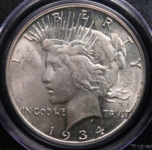 1934 D PEACE DOLLAR PCGS MS 62 SMOOTH AND LUSTROUS WHITE WITH A TOUCH OF HAZE