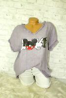 Italy New Collection Mickey Mouse T-Shirt lila Gr. 36 38 40 42 blogger Vintage