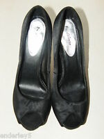 Liberta Womens UK Size 7 EU 40 Black Satin Feel High Heeled Peep-Toe Shoes