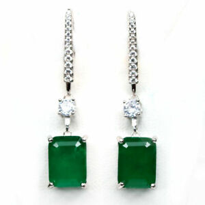 Earrings Green Emerald Doublet Genuine Natural Gems Solid Sterling Silver Drop