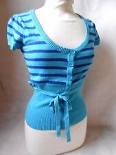 Women Turquoise Stripped Cardigan Buttons Short Sleeve Atmosphere Size 8-10