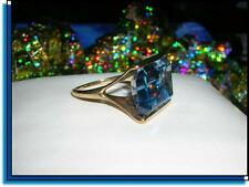 Large GORGEOUS Womens Vintage Estate 14k Gold 20ct BLUE TOPAZ Gemstone Ring 7.7g