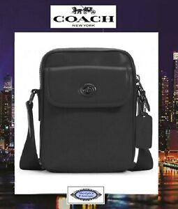 NWT COACH Men's HERRITAGE Crossbody Bag In BLACK Calf Leather