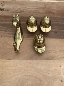 Vintage Solid Brass Horse Head Hook And Riding Hat Bottle Stoppers