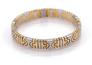 BVLGARI Parentsi Two-tone 18K Yellow Gold & Steel Cuff Bracelet - $15K VALUE