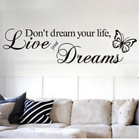 DIY Removable Quote Word Decal Vinyl Home Room Decor Art Wall Stickers Bedroom