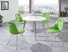 Tischgruppe 5tlg Anja Pep 1 rund Essecke Tisch und Stuhl Set mint weiss chrom