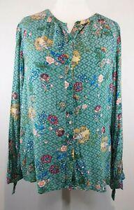 Regatta Size 16 Green Floral Long Sleeve Button Up Top Blouse Plus Size