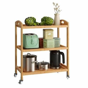 Kitchen Trolley Service Cart Rolling Shelves Food Storage Wine Rack with Wheels