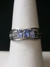 Unique 10k White Gold Tanzanite and Diamond Cocktail Ring  Make Offer! #1741