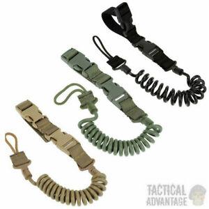 Tactical Quick Release Pistol Handgun Coiled Lanyard Hand Gun Bungee Coil UK