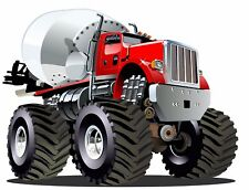 Moster Truck Cement Mixer Big Red Boys Mens Wall Graphic Decal Sticker Man Cave