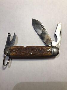 """Vintage Original Ulster Bone Folding Pocket Knife 3 Blades 3 3/4"""""""