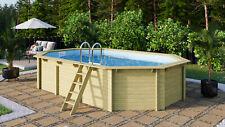 Holzpool Achteckpool Oval 610x400x124cm ca.19, 1m ³ Pool-Komplett-Set Octágono