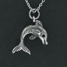 Dolphin Necklace - Pewter Charm Fish Mammal Jump Jumping Tricks Ocean Sea New