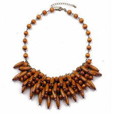 """New 17"""" Mark Wooden Beads Cluster Necklace Gift FS Vintage Women Holiday Jewelry"""