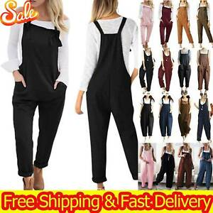 Womens Overalls Casual Dungarees Baggy Loose Soft Jumpsuits Playsuit Trousers