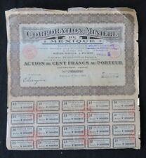 Action 1923 CORPORATION MINIERE DU MEXIQUE titre bond share 5