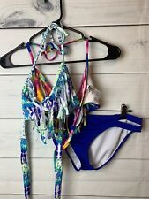Delias Bikini set 2 fringe tops & blue bottoms