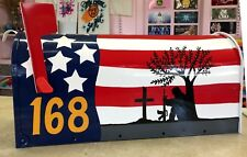 *Custom Painted* Rural-Style Standard-Size MAILBOX *American FLAG and Soldier*