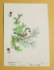 "CHRISTMAS Bird on Holly Branch Red Berries 5x7"" Greeting Card Art #218B FVF 7.0"