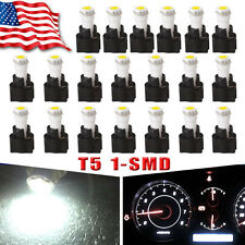 20 x White T5 1SMD LED Car Instrument Panel Dash Light PC74 Sockets T5 Kit 73 70