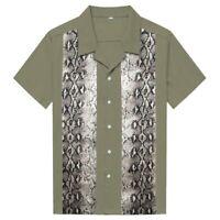 Men Shirt Snake Animal Print  Shirt Rockabilly Hip Hop Short Sleeve Clothing