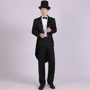 Black Gentlemen Swallow-tailed Coat Party Formal Black Tailcoat Tuxedo Outfit