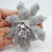 Bridal Fashion Romantic Clear Crystal Rhinestones Orchid Flower Brooch Pin