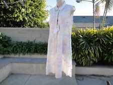 Robert Graham ANITA Dress, Floral Sleeveless Buttoned Shirt Dress, 100% Cotton L