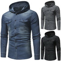 Retro Mens Long Sleeve Distressed Denim Jacket Casual Slim Fit Hooded Tops
