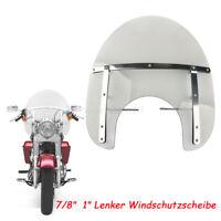 """Motorrad Rauch Universal Windschild Windschutzscheibe 7/8""""  1"""" Lenker Für Harley"""