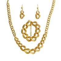 18k Layered Real Gold Filled Set Necklace Bracelet earrings