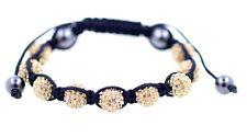 Fashion sparkly orange crystal ball in hemp rope bracelet