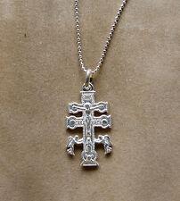 Cadena Bolas 45 cm. con -Cruz de CARAVACA- de plata 925 Sterling silver