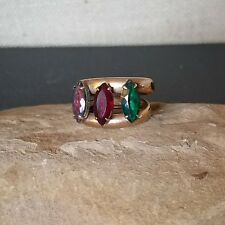 Antq Victorian Gold Filled Green Red Purple Marquis Rhinestone Scarf Ring Clip