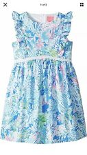 NEW LILLY PULITZER Girls Madelina Floral A-Line Dress Blue Lion Around Size 10
