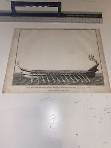 1801 Original Antique Print Maritime Charnock Ancient Bireme Bafius