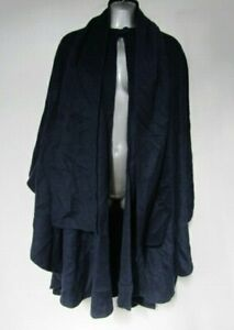 Womens Vintage Navy Blue Cashmere & Wool Blend One Size Top Button Blanket Cape