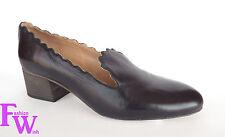 New CHLOE Size 8 LAUREN Black Leather Scallop Loafer Pumps 39 Shoes