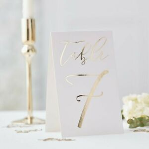 Table Card Numbers 1-12  Elegant Gold Foiled venue party decoration (GO-109)