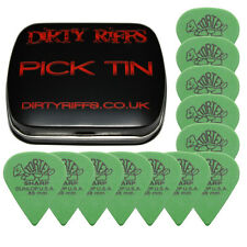 12 x Dunlop Tortex Sharp Guitar Picks / Plectrums - 0.88mm Green In A Pick Tin